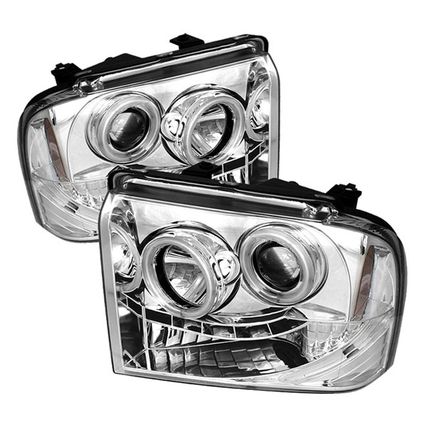 Spyder PRO-YD-FS05-CCFL-C:  Ford F250/350/450 Super Duty 05-07 CCFL LED ( Replaceable LEDs ) Projector Headlights - Chrome
