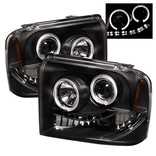 Spyder PRO-YD-FS05-HL-BK:  Ford F250/350/450 Super Duty 05-07 Halo LED ( Replaceable LEDs ) Projector Headlights - Black