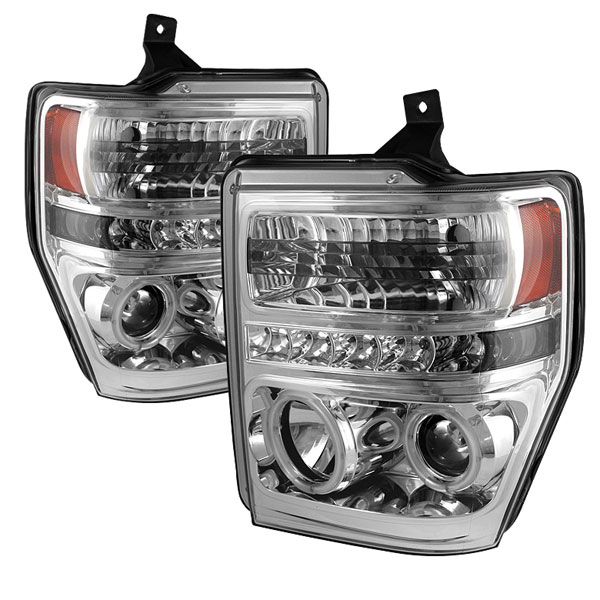 Spyder PRO-YD-FS08-CCFL-C:  Ford F250/350/450 Super Duty 08-10 CCFL LED ( Replaceable LEDs ) Projector Headlights - Chrome