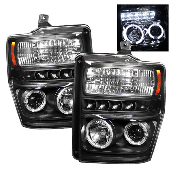 Spyder PRO-YD-FS08-HL-BK:  Ford F250/350/450 Super Duty 08-10 Halo LED ( Replaceable LEDs ) Projector Headlights - Black