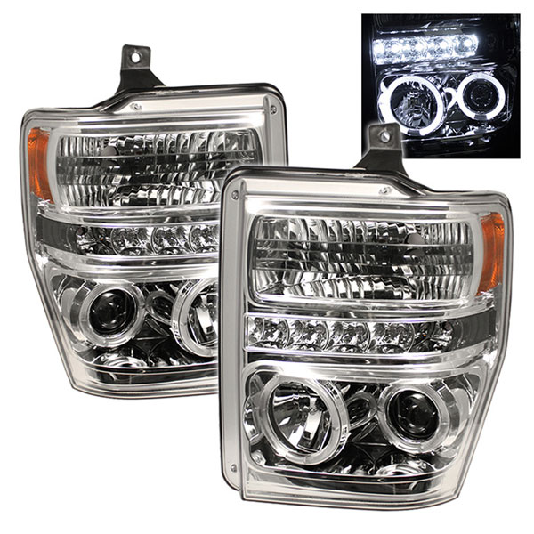 Spyder PRO-YD-FS08-HL-C:  Ford F250/350/450 Super Duty 08-10 Halo LED ( Replaceable LEDs ) Projector Headlights - Chrome