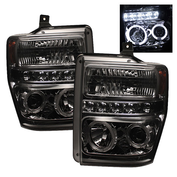 Spyder PRO-YD-FS08-HL-SMC:  Ford F250/350/450 Super Duty 08-10 Halo LED ( Replaceable LEDs ) Projector Headlights - Smoke