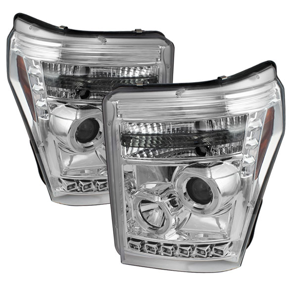 Spyder PRO-YD-FS11-HL-C:  Ford F250/350/450 Super Duty 11-13 Projector Headlights - LED Halo - DRL - Chrome - High H1 (Included) - Low 9006 (included)