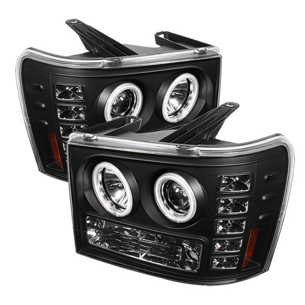 Spyder 5030184:  GMC Sierra 1500/2500/3500 07-12 CCFL LED ( Replaceable LEDs ) Projector Headlights - Black  - (PRO-YD-GS07-CCFL-BK)