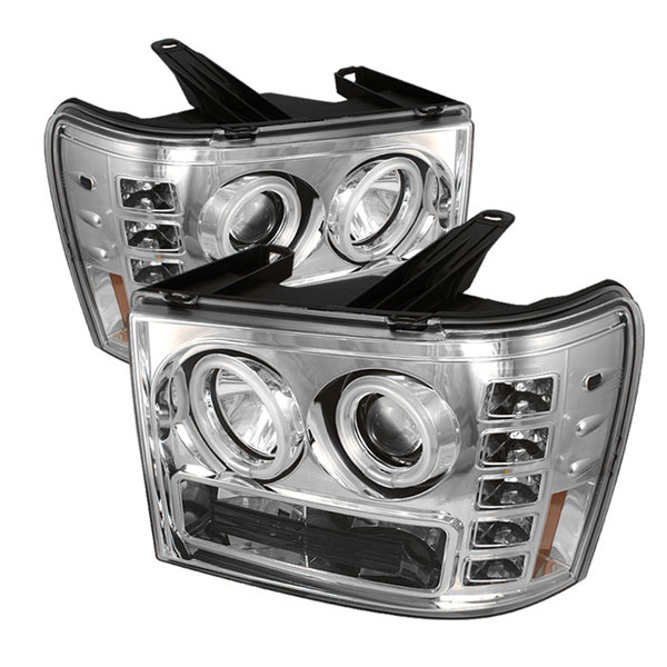 Spyder (5030191)  GMC Sierra 2500HD/3500HD 07-12 CCFL LED ( Replaceable LEDs ) Projector Headlights - Chrome  - (PRO-YD-GS07-CCFL-C)