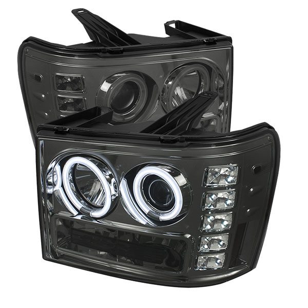 Spyder PRO-YD-GS07-CCFL-SM:  GMC Sierra 1500/2500/3500 07-12 CCFL LED ( Replaceable LEDs ) Projector Headlights - Smoke