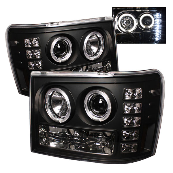Spyder PRO-YD-GS07-HL-BK:  GMC Sierra 1500/2500/3500 07-12 Halo LED ( Replaceable LEDs ) Projector Headlights - Black