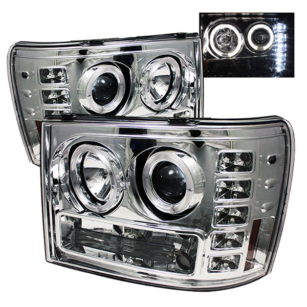 Spyder PRO-YD-GS07-HL-C:  GMC Sierra Denali 08-12 Halo LED ( Replaceable LEDs ) Projector Headlights - Chrome