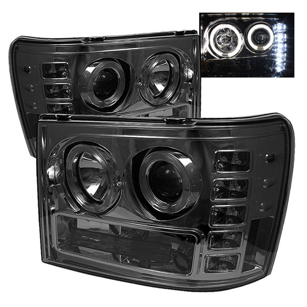Spyder PRO-YD-GS07-HL-SM:  GMC Sierra Denali 08-12 Halo LED ( Replaceable LEDs ) Projector Headlights - Smoke