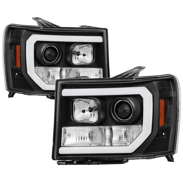 Spyder 5083630 |  GMC Sierra 1500/2500/3500 / Denali Version 2 Projector Headlights - Light Bar DRL LED - Black - (PRO-YD-GS07V2-LBDRL-BK); 2007-2013