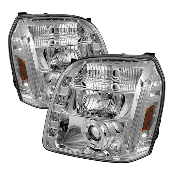Spyder PRO-YD-GY07-HL-C:  GMC Yukon 07-12 Halo LED ( Replaceable LEDs ) Projector Headlights - Chrome
