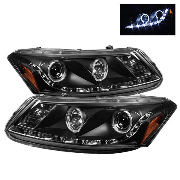 Spyder PRO-YD-HA08-4D-HL-BK:  Honda Accord 08-12 4Dr DRL LED Halo Projector Headlights - Black