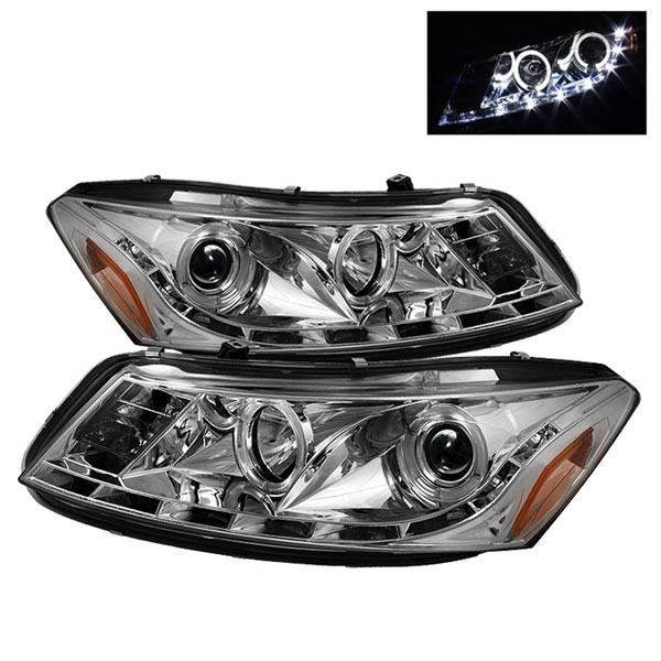 Spyder PRO-YD-HA08-4D-HL-C:  Honda Accord 08-12 4Dr DRL LED Halo Projector Headlights - Chrome