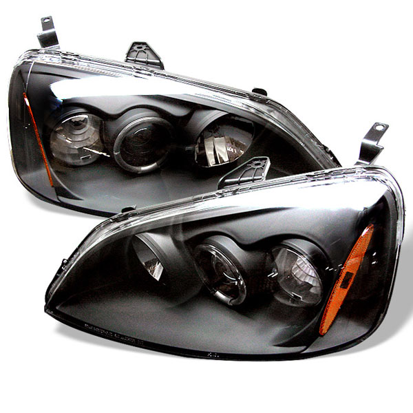 Spyder PRO-YD-HC01-AM-BK:  Honda Civic 01-03 2/4DR (Non SI Model) Halo Projector Headlights - Black
