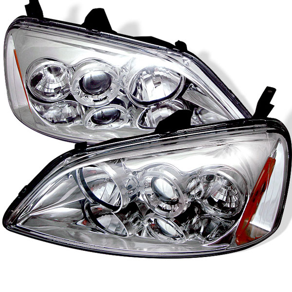 Spyder PRO-YD-HC01-AM-C:  Honda Civic 01-03 2/4DR (Non SI Model) Halo Projector Headlights - Chrome