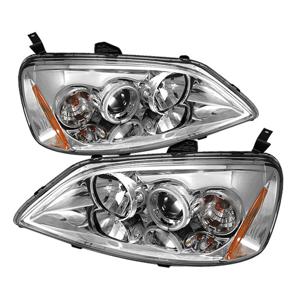 Spyder PRO-YD-HC01-CCFL-C:  Honda Civic 01-03 2/4DR (Non SI Model) CCFL Halo Projector Headlights - Chrome