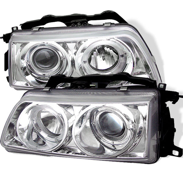 Spyder PRO-YD-HC90-HL-C:  Honda Civic 90-91 Halo Projector Headlights - Chrome