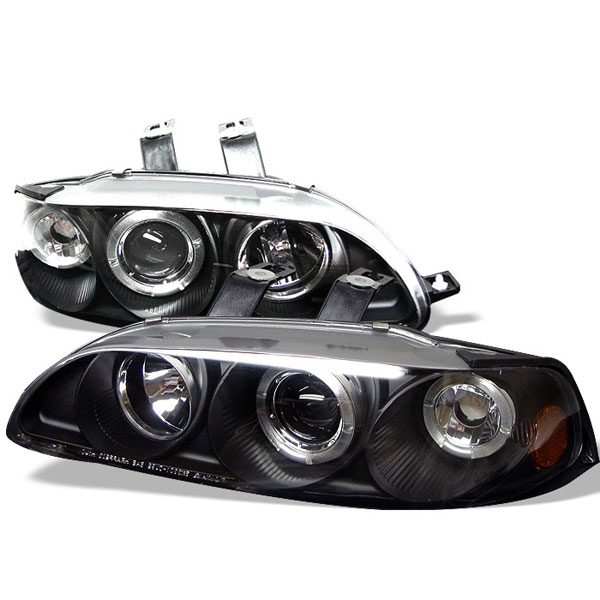 Spyder PRO-YD-HC921P-4D-AM-BK:  Honda Civic 92-95 4Dr 1PC Halo Projector Headlights - Black