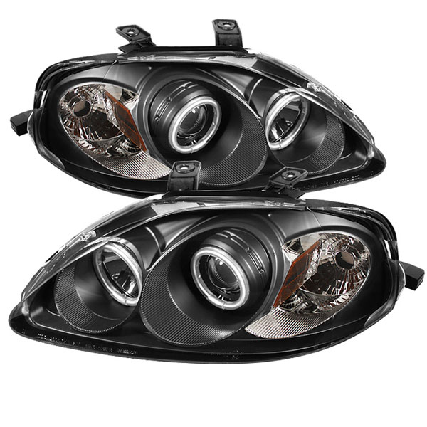 Spyder PRO-YD-HC99-CCFL-BK:  Honda Civic 99-00 CCFL Halo Projector Headlights - Black