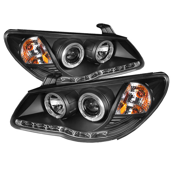 Spyder PRO-YD-HYELAN07-DRL-BK:  Hyundai Elantra 07-10 Projector Headlights - LED Halo - DRL - Black - High H1 (Included) - Low H7 (Included)