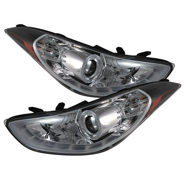 Spyder PRO-YD-HYELAN11-DRL-C:  Hyundai Elantra 11-13 Projector Headlights - LED Halo - DRL - Chrome - High H1 (Included) - Low H7 (Included)