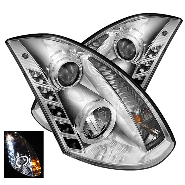Spyder PRO-YD-IG35032D-DRL-C:  Infiniti G35 2Dr 03-07 DRL LED Projector Headlights - Chrome