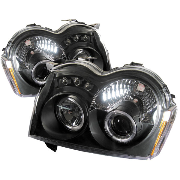 Spyder PRO-YD-JGC05-HL-BK:  Jeep Grand Cherokee 05-07 Halo LED ( Replaceable LEDs ) Projector Headlights - Black