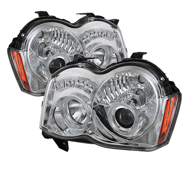 Spyder PRO-YD-JGC08-HL-C:  Jeep Grand Cherokee 08-10 Projector Headlights - LED Halo - LED ( Replaceable LEDs ) - Chrome - High H1 (Included) - Low 9006 (Not Included)