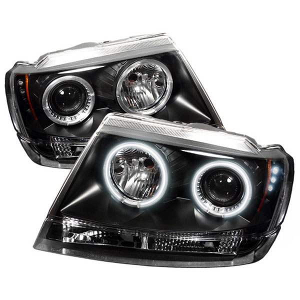 Spyder PRO-YD-JGC99-CCFL-BK:  Jeep Grand Cherokee 99-04 ( Non Laredo Limited Sport Version ) CCFL LED ( Replaceable LEDs ) Projector Headlights - Black