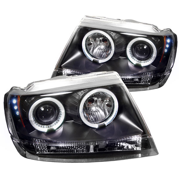 Spyder (5011145)  Jeep Grand Cherokee 99-04 ( Non Laredo Limited Sport Version ) Halo LED ( Replaceable LEDs ) Projector Headlights - Black  - (PRO-YD-JGC99-HL-BK)