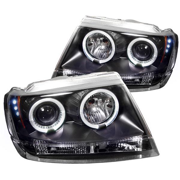 Spyder 5011145 |  Jeep Grand Cherokee ( Non Laredo Limited Sport Version ) Halo LED ( Replaceable LEDs ) Projector Headlights - Black - (PRO-YD-JGC99-HL-BK); 1999-2004