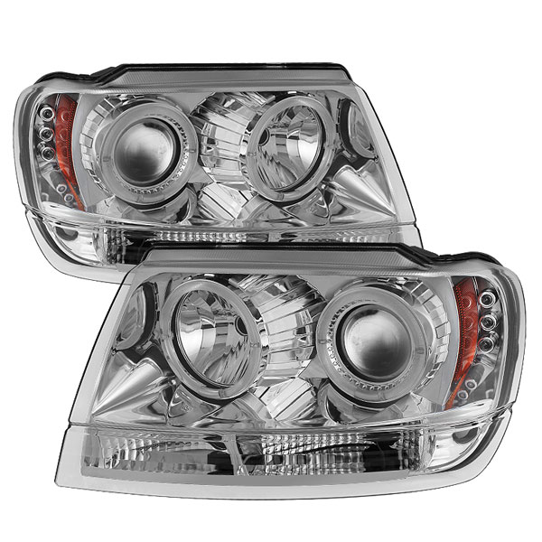 Spyder PRO-YD-JGC99-HL-C:  Jeep Grand Cherokee 99-04 ( Non Laredo Limited Sport Version ) Halo LED ( Replaceable LEDs ) Projector Headlights - Chrome