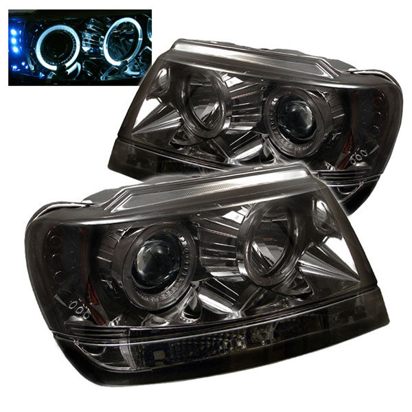 Spyder PRO-YD-JGC99-HL-SMC:  Jeep Grand Cherokee 99-04 ( Non Laredo Limited Sport Version ) Halo LED ( Replaceable LEDs ) Projector Headlights - Smoke