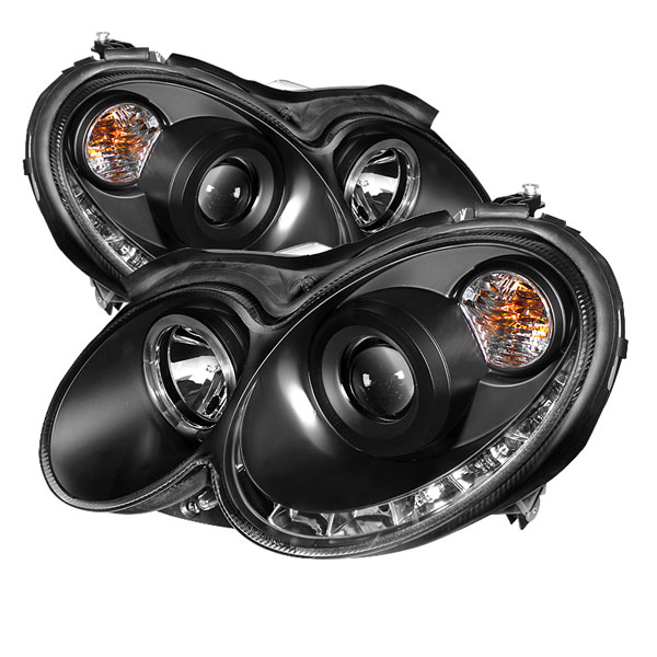 Spyder PRO-YD-MBCLK03-DRL-BK:  Mercedes Benz CLK 03-09 Halo DRL LED Projector Headlights - Black