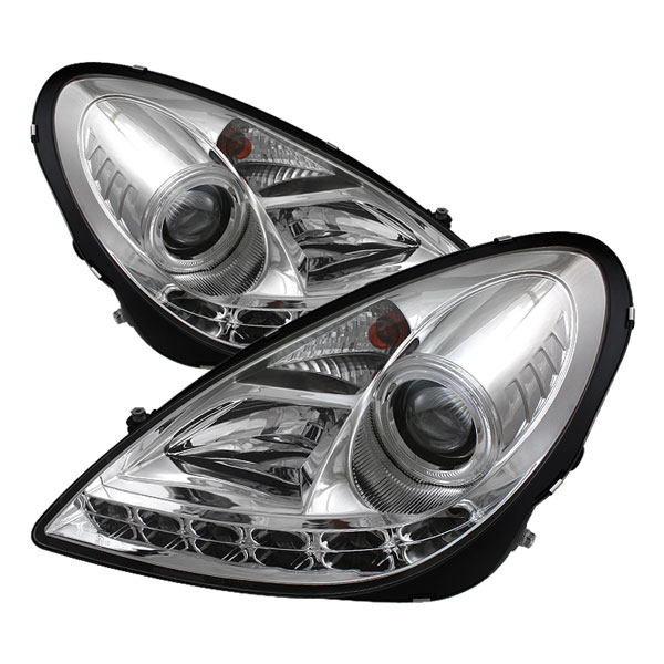 Spyder PRO-YD-MBSLK05-DRL-C:  Mercedes Benz R171 SLK 05-10 ( NON HID ) DRL LED Projector Headlights - Chrome