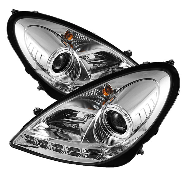 Spyder PRO-YD-MBSLK05-HID-DRL-C:  Mercedes Benz R171 SLK 05-10 ( HID Type ) DRL LED Projector Headlights - Chrome