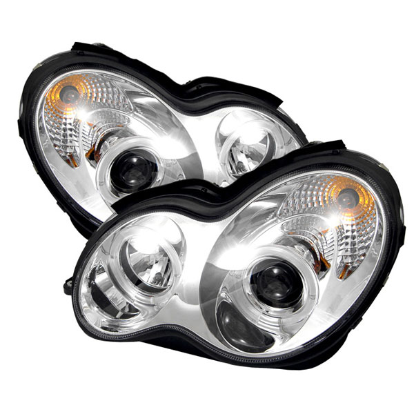 Spyder PRO-YD-MBW203-HL-C:  Mercedes Benz W203 C-Class 01-05 ( 4 Door Only ) Halo Projector Headlights - Chrome
