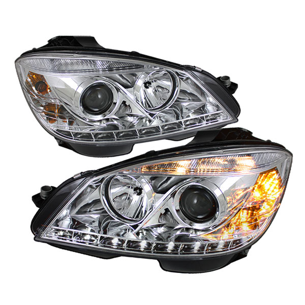 Spyder PRO-YD-MBW20408-DRL-C:  Mercedes Benz W204 C-Class 08-11 DRL LED Projector Headlights - Chrome