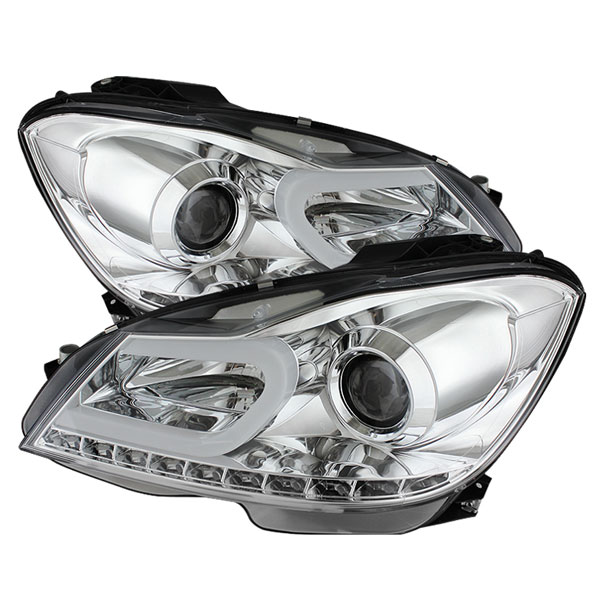Spyder 5074256:  Mercedes Benz W204 C-Class 12-13 Projector Headlights - Halogen Model Only ( Not Compatible With Xenon/HID Model ) - DRL - Chrome - High H1 (Included) - Low H7 (Included)