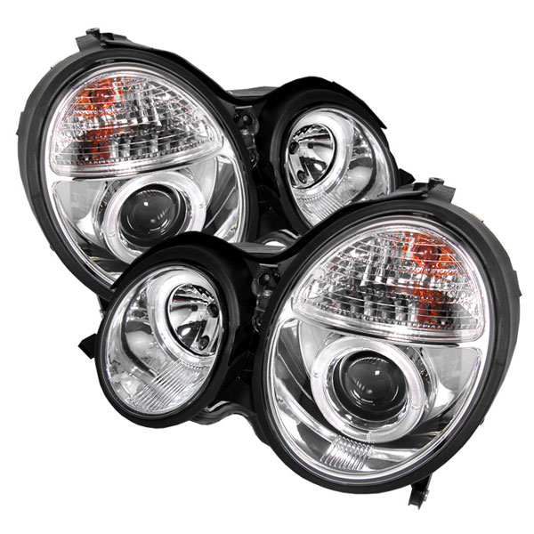 Spyder (5011305)  Mercedes Benz W210 E-Class 00-02 Halo Projector Headlights - Chrome  - (PRO-YD-MBW21099-HL-C)
