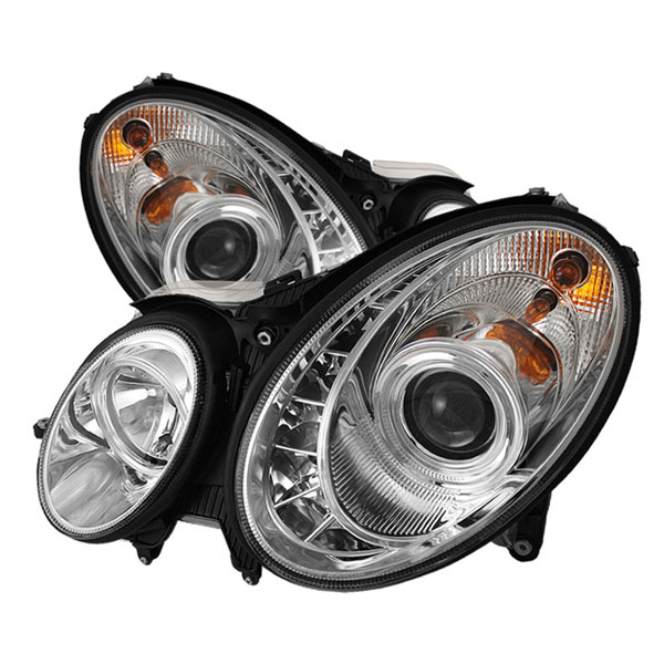 Spyder PRO-YD-MBW21103-DRL-C:  Mercedes Benz W211 E-Class 03-06 DRL LED Projector Headlights - Chrome