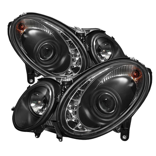 Spyder PRO-YD-MBW21103-HID-DRL-BK:  Mercedes Benz W211 E-Class 03-06 DRL LED Projector Headlights - Black