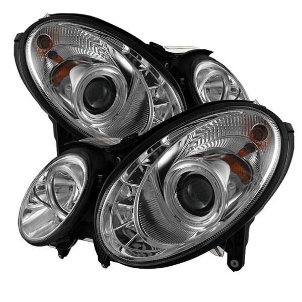 Spyder PRO-YD-MBW21107-DRL-C:  Mercedes Benz W211 E-Class 07-09 DRL LED Projector Headlights - Chrome