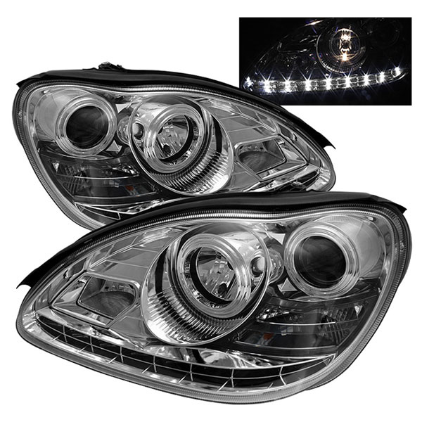 Spyder PRO-YD-MBW220-DRL-C:  Mercedes Benz W220 S-Class 00-06 DRL LED Projector Headlights - Chrome