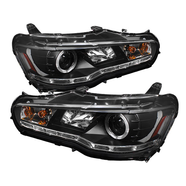 Spyder PRO-YD-ML08-DRL-BK:  Mitsubishi Lancer / EVO-10 08-12 ( Non HID Type ) DRL LED Projector Headlights - Black
