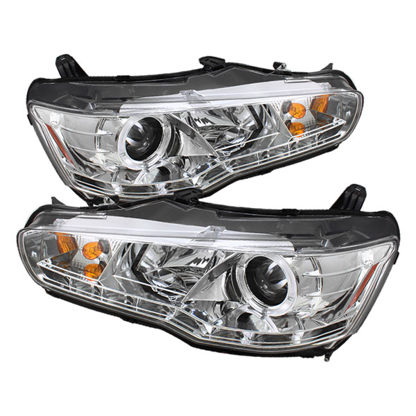 Spyder PRO-YD-ML08-DRL-C:  Mitsubishi Lancer / EVO-10 08-12 ( Non HID Type ) DRL LED Projector Headlights - Chrome