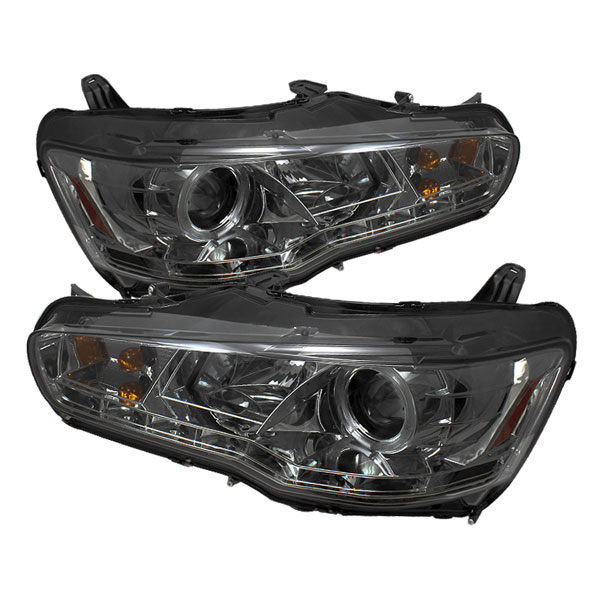 Spyder PRO-YD-ML08-DRL-SM:  Mitsubishi Lancer / EVO-10 08-12 ( Non HID Type ) DRL LED Projector Headlights - Smoke