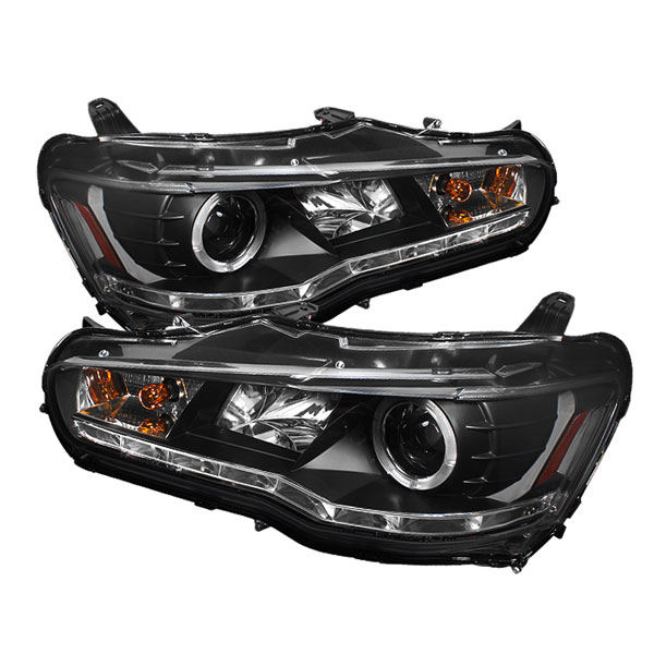 Spyder 5042231:  Mitsubishi Lancer / EVO-10 08-12 ( HID Type ) DRL LED Projector Headlights - Black  - (PRO-YD-ML08-HID-DRL-BK)