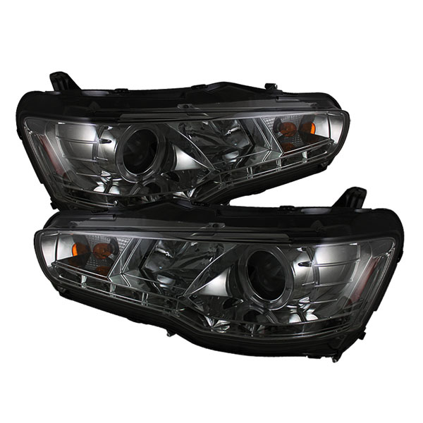 Spyder (5042248)  Mitsubishi Lancer / EVO-10 08-12 ( HID Type ) DRL LED Projector Headlights - Smoke  - (PRO-YD-ML08-HID-DRL-SM)