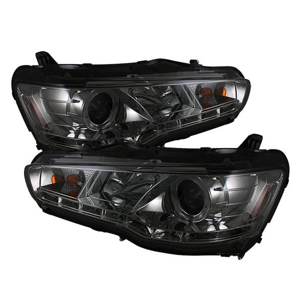 Spyder 5042248 |  Mitsubishi Lancer / EVO-10 ( HID Type ) DRL LED Projector Headlights - Smoke - (PRO-YD-ML08-HID-DRL-SM); 2008-2010